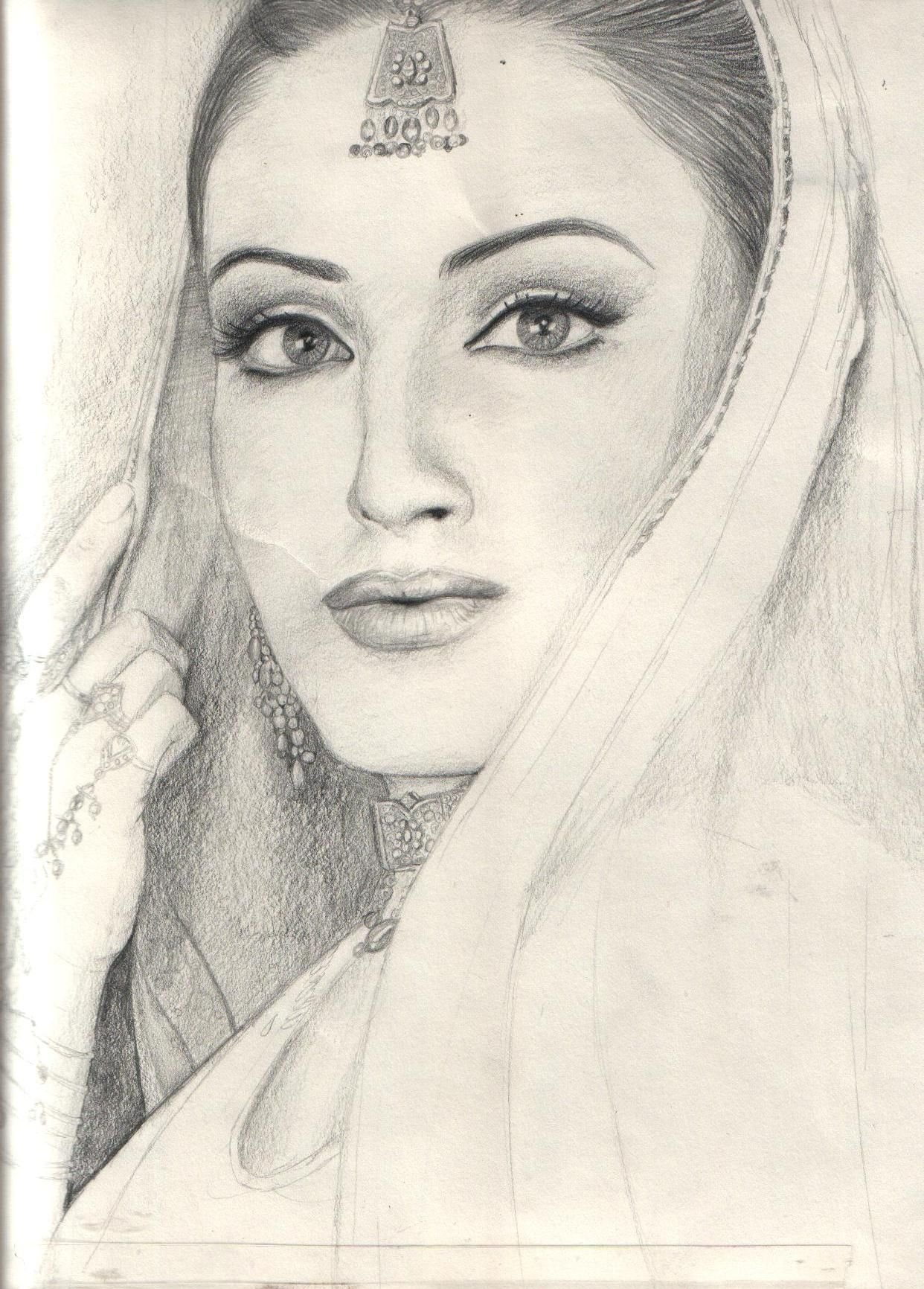 Pencil drawing of beautiful traditional girl pencil sketch