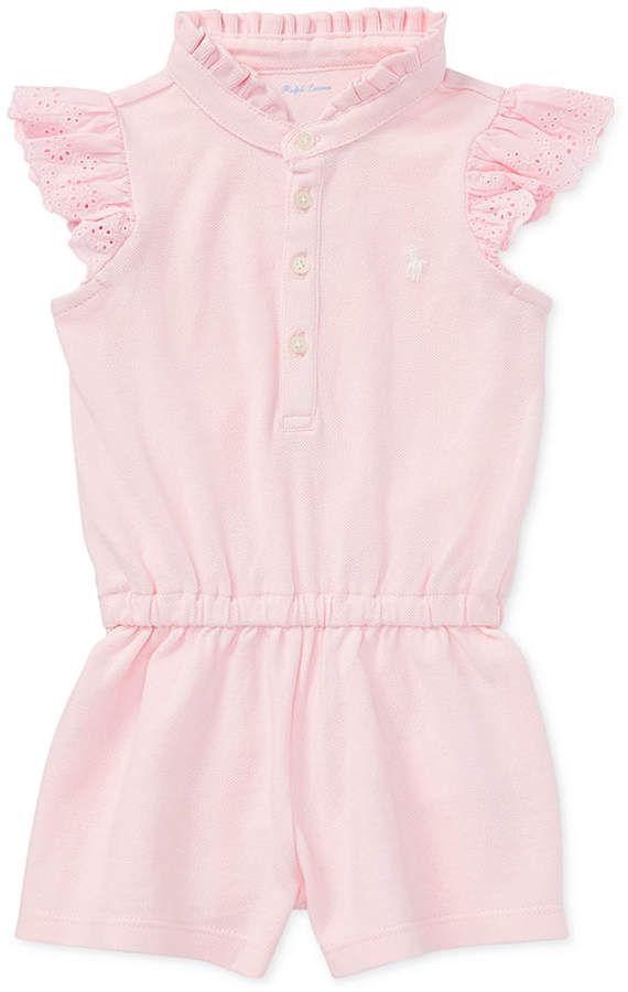 Ralph Lauren Ruffled Cotton Romper Baby Girls Babygirl Ralphlauren Promotion Kindermode