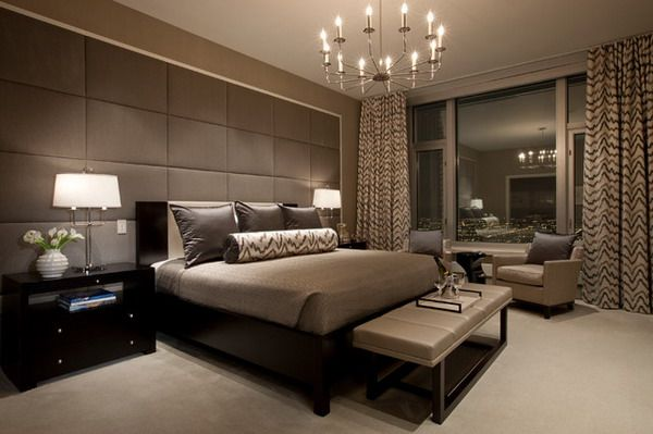 Genial Contemporary Bedroom Design With Elegant Table Lamps Metal Chandelier And  Brown Wall Panels