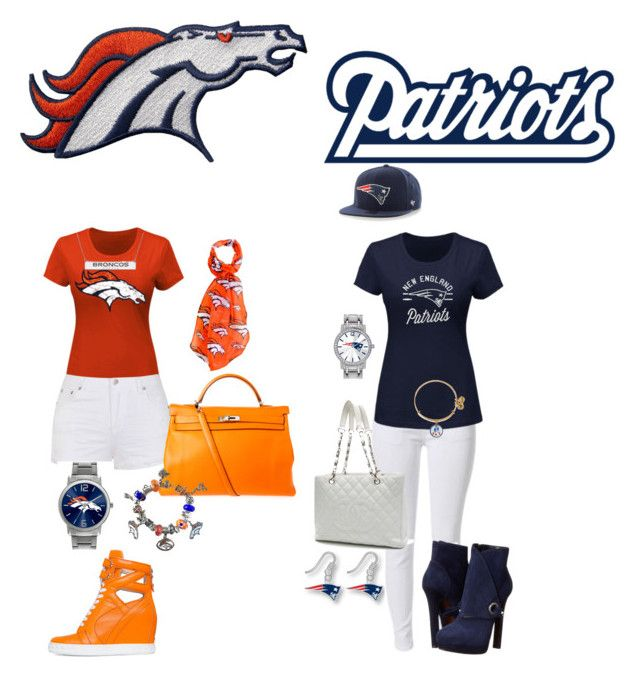 """""""Afc champ game ... LETS GO NEW ENGLAND"""" by danillove14 on Polyvore featuring Majestic, Ally Fashion, Posh Girl, Alexander McQueen, Chanel, Hermès, Forever Collectibles, Pandora, Game Time and aminco"""