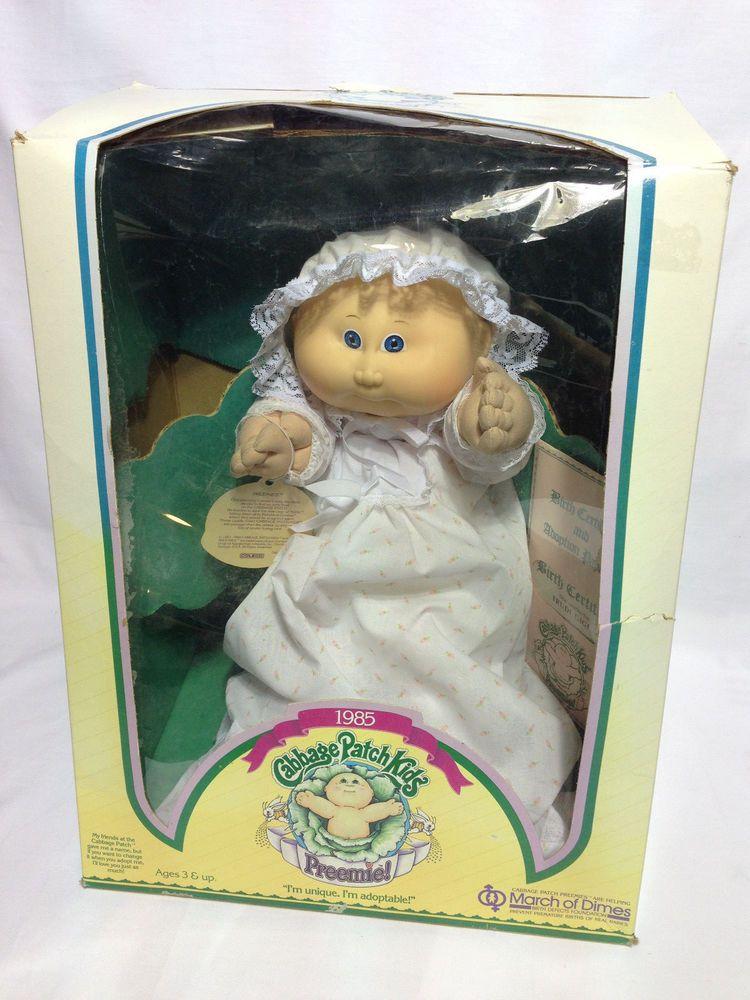 Vintage Coleco 1985 Cabbage Patch Kids Preemie Box Adopt Certs Trudi Gigi Dollswithclothingaccessories