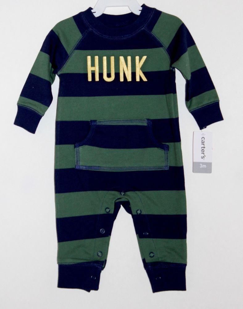 0399d26de7dc Carter s Baby Boys Blue Green Stripe Long Sleeve Romper Outfit 3M 6M ...