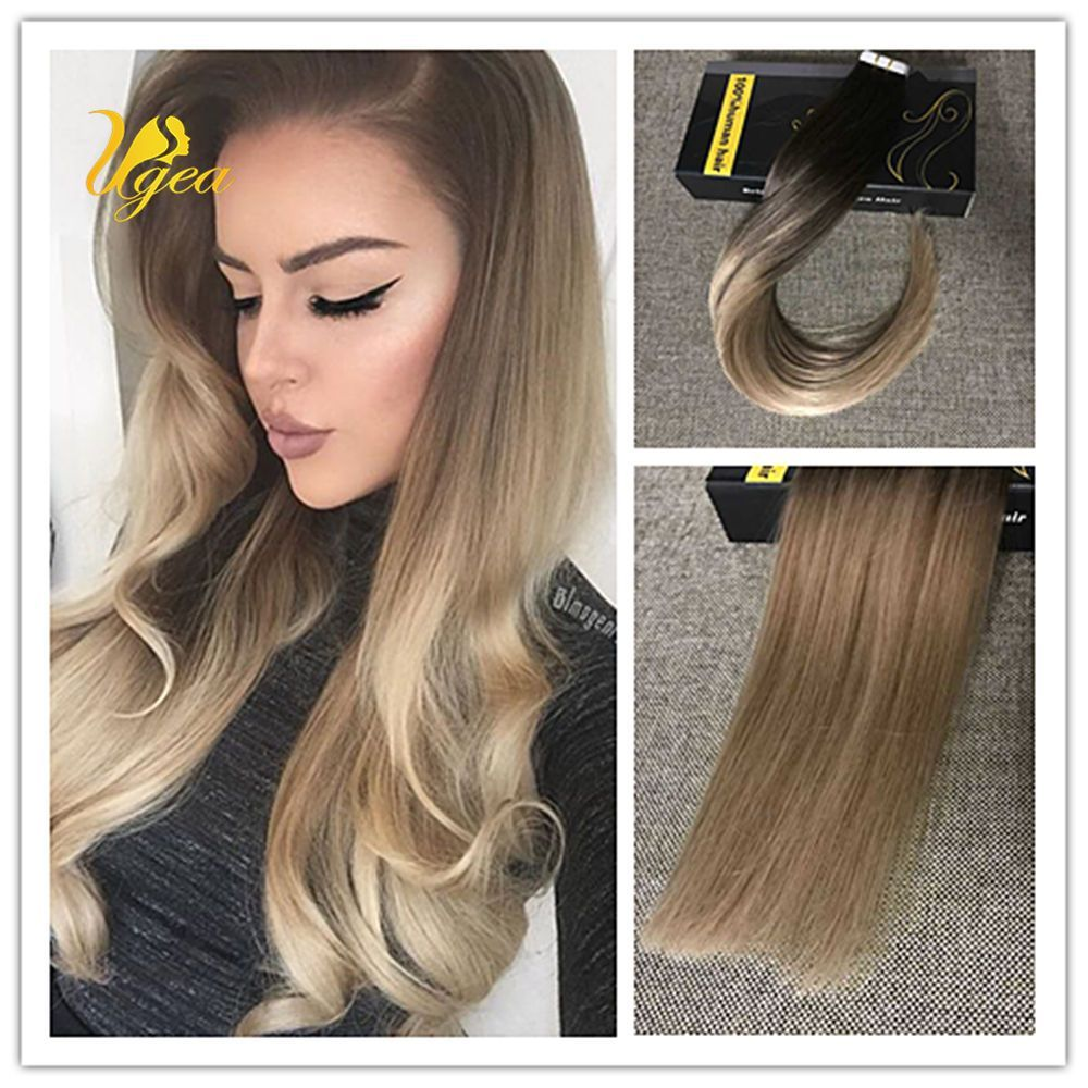 Balayage Ombre Brown To Dark Ash Blonde Remy Pu Tape In Human Hair