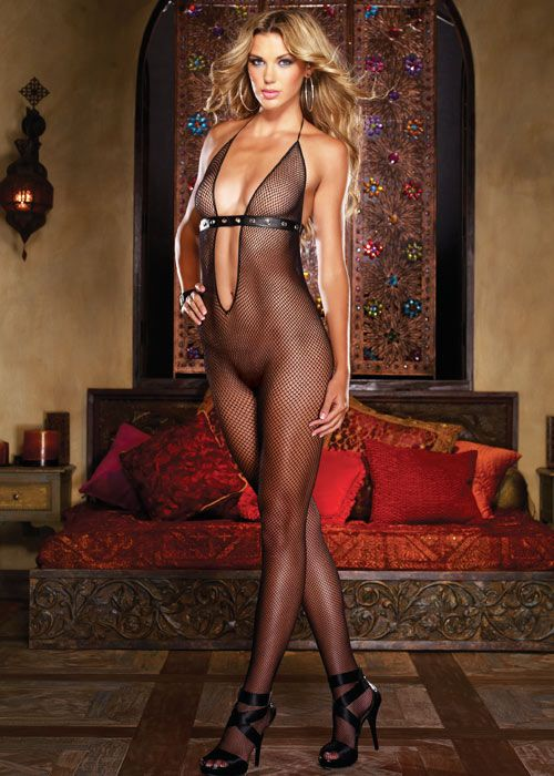 2ceadc41093 Dreamgirl Fishnet Plunge Front Faux Leather Detail Bodystocking ...
