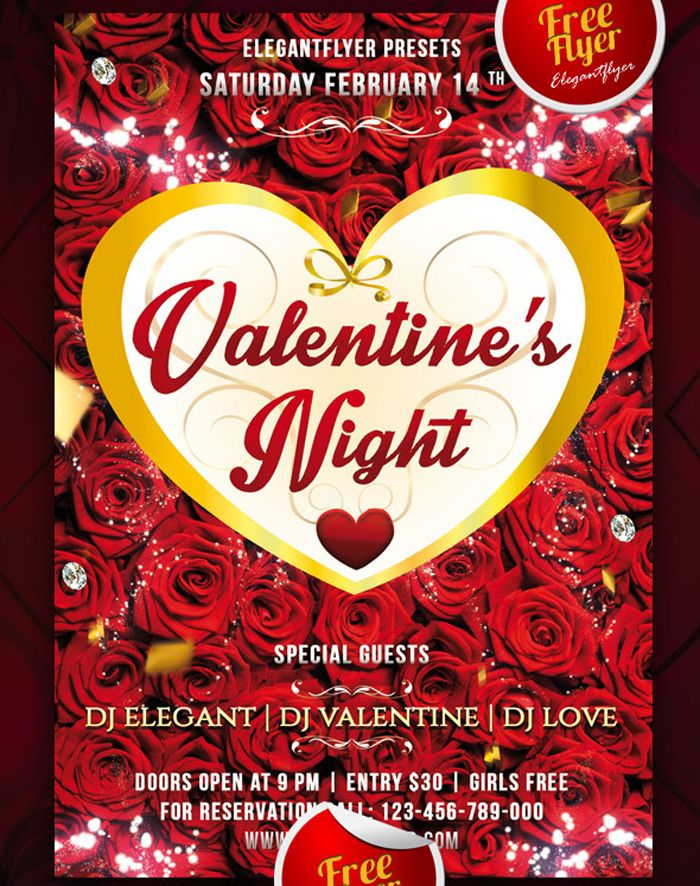 Valentines Night Club And Party Free Flyer Psd Template Flyer