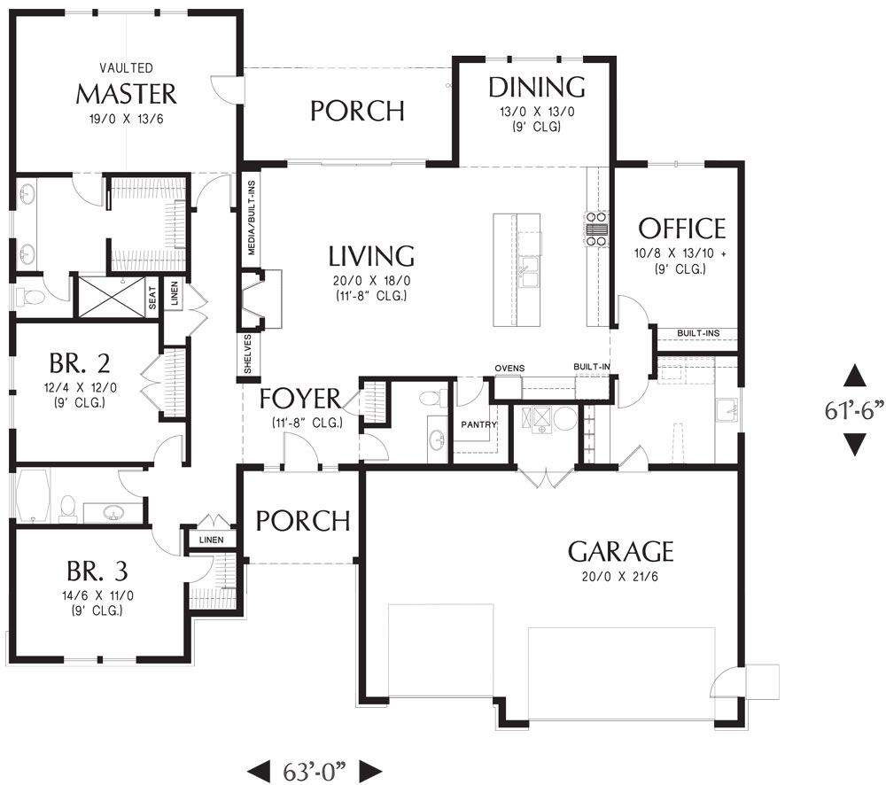 Craftsman Inspired Ranch House Plan With Spacious Living Room House Plans Ranch House Plans Craftsman Ranch