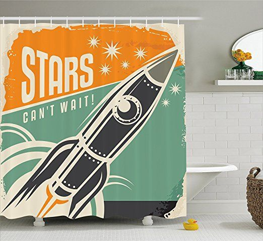 Vintage Decor Shower Curtain Quote With Radiant Tone Futuristic Spaceship Rocket Moon Cosmos Humor Artwork Fabric