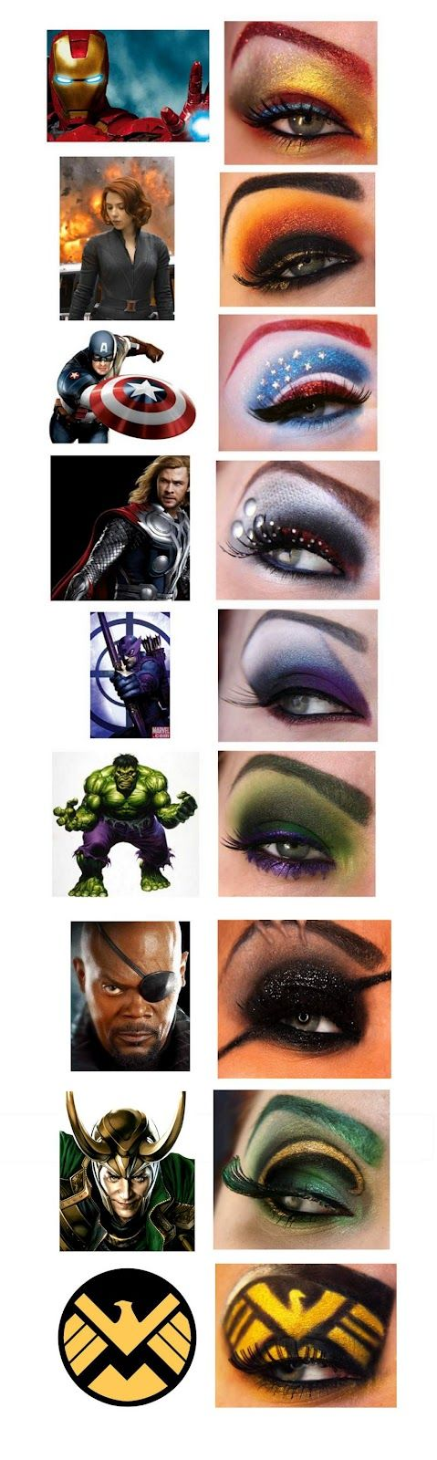 Dressing up as a #superhero this Halloween?  Check out these #Avengers inspired eye make-up designs. #makeup #halloween