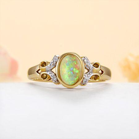 14k Yellow Gold Diamond, Rainbow Fire Solid Australian White Opal Ring