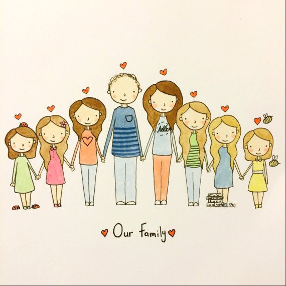 Christmas gift Grandparents couple child family portrait Custom illustration from your photo Portrait A5 COLOUR baby Mothers/' day