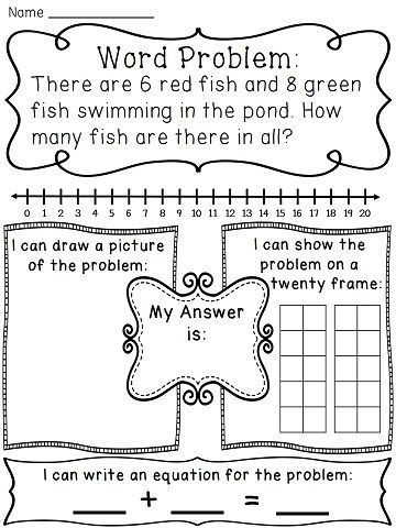 Addition to 20 Word Problems Worksheets | Fun worksheets, Word ...