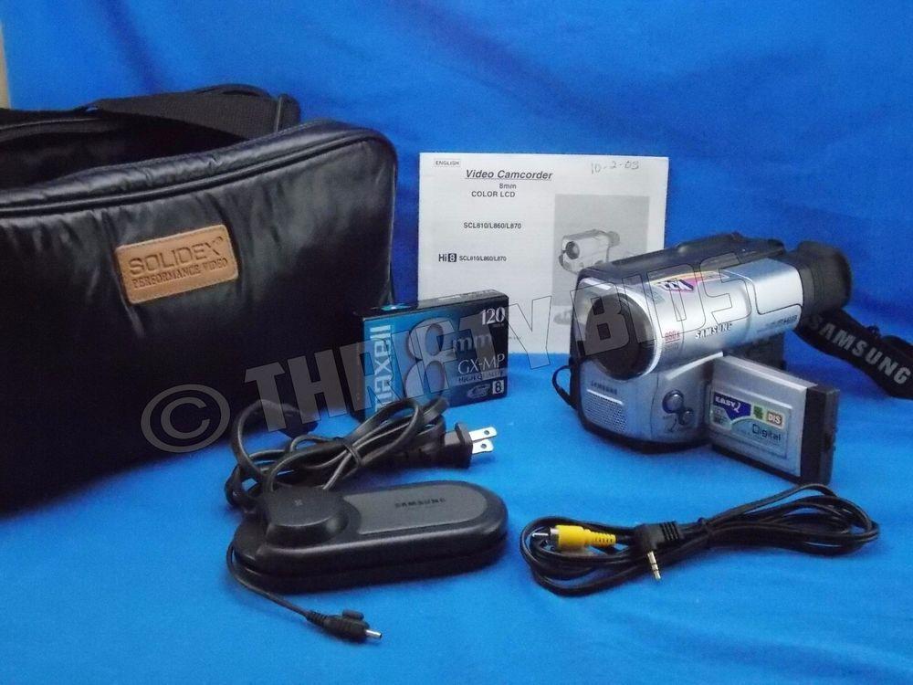 samsung sc l860 hi 8 8mm camcorder manual tape ac power adapter case rh pinterest com