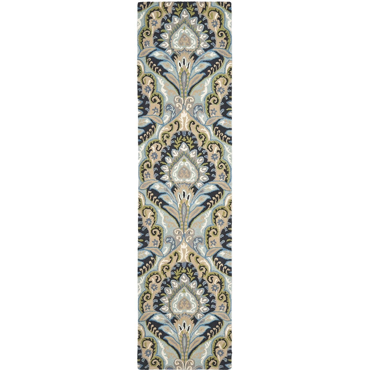 Hallway carpet runners sold by the foot  Amazon Safavieh Wyndham Collection WYDA Handmade Blue and
