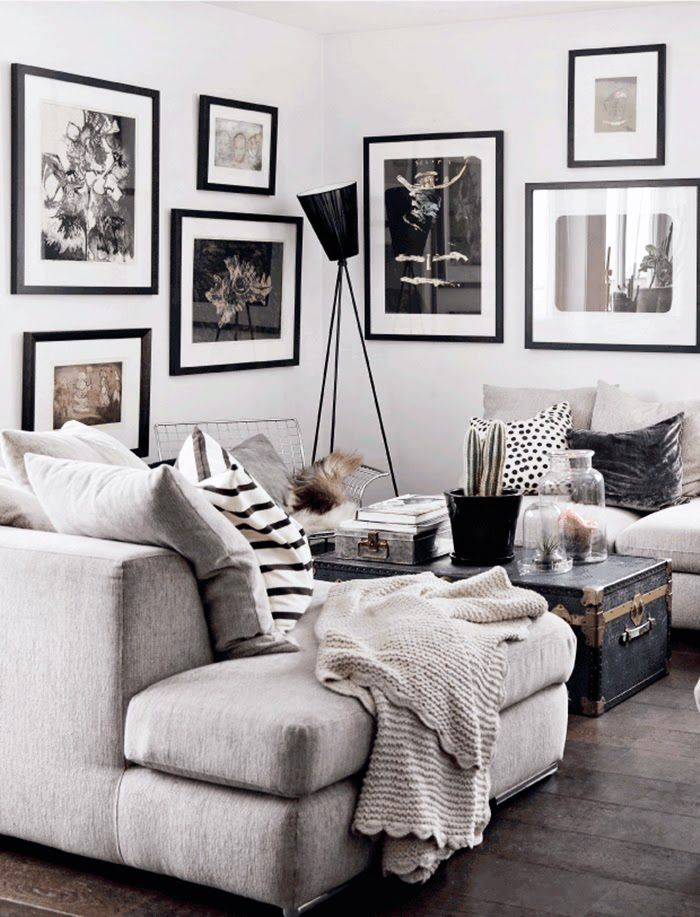 Black White Grey Gallery Wall Living Room