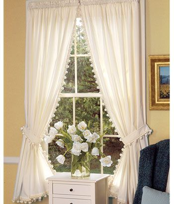 Clic Ball Fringe Perma Press Rod Pocket Curtains Country