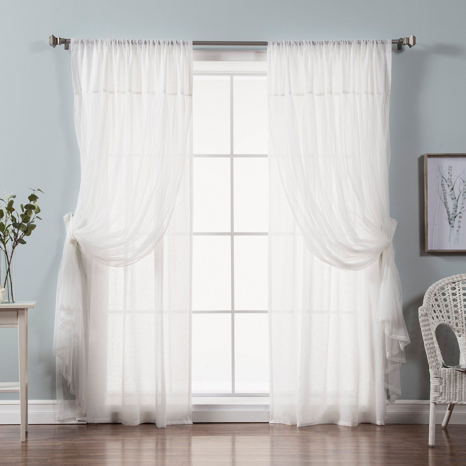 Best Home Fashion Faux Pippin Linen Sheer Curtain Panels Panel