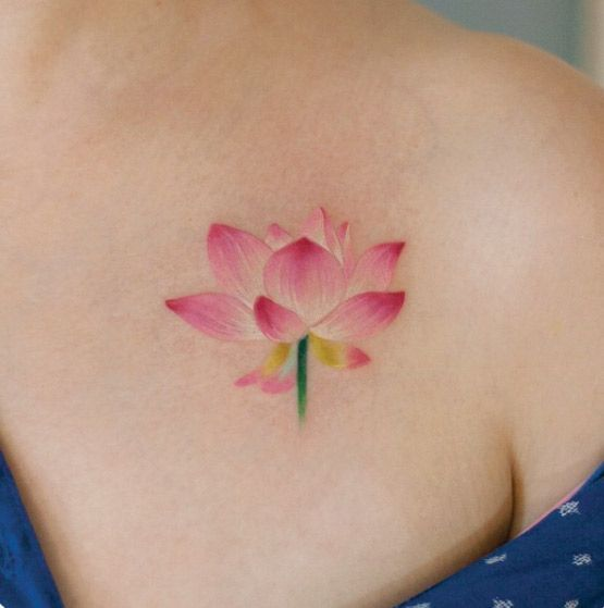40+ Cute and Tiny Floral Tattoos for Women -   24 pink lotus tattoo ideas
