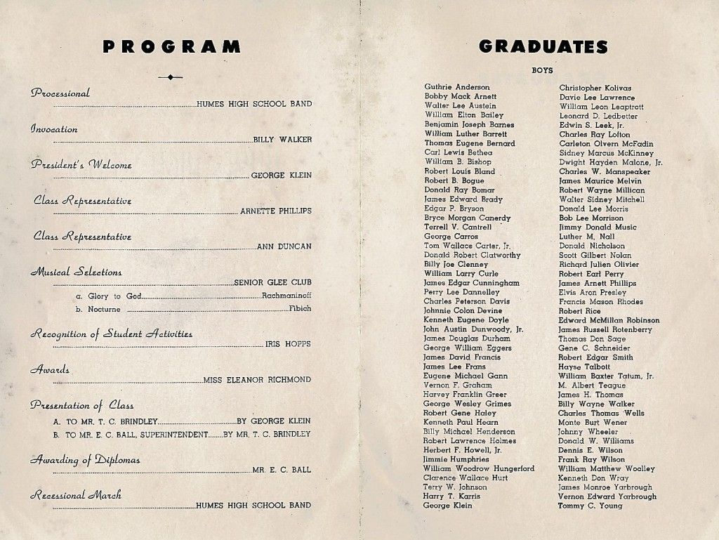 High School Graduation Program  George Klein  Elvis