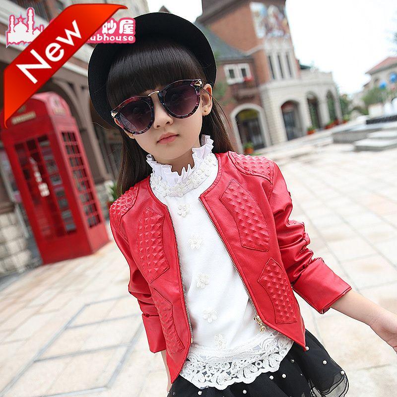 Hot Sale 2017 Baby Girls Leather Jacket Autumn Child Toddler Girl