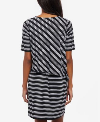 Motherhood Maternity Striped Nursing Dress - Black-White Stripe S