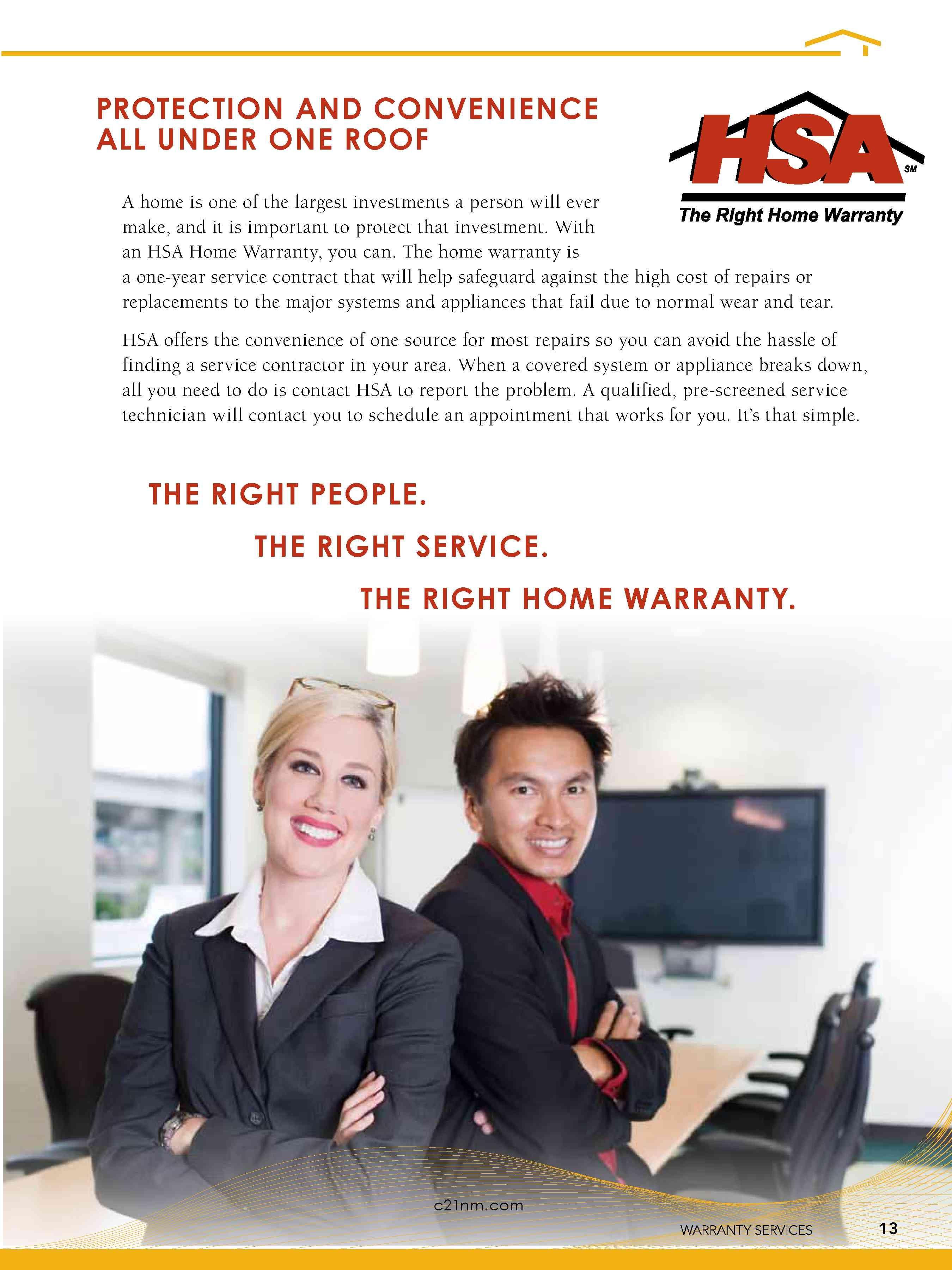 Listing Presentation HSA Home Warranty. Page 13 Listing