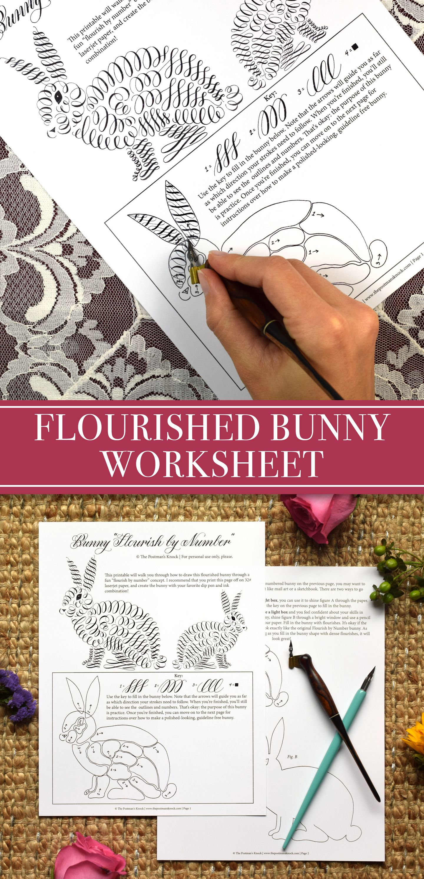 Free Printable Flourish By Number Bunny