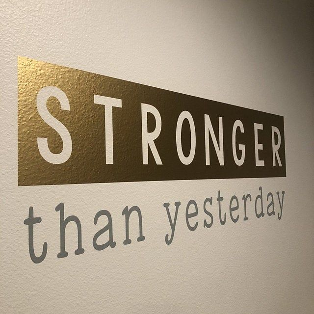 Gym wall decal- Workout wall decal- Workout wall decor- Workout decal- Workout motivation- Exercise wall decal- Stronger than yesterday #nosolicitingsignfunny