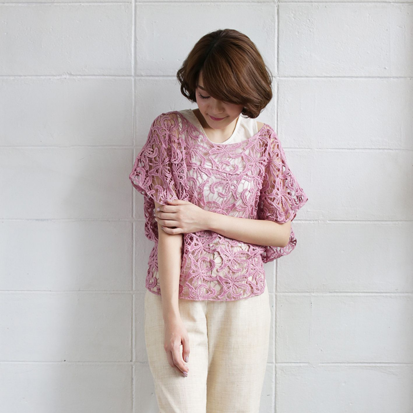 Over-Size Tops Lace Cotton Ylang-ylang Pink Color -www.tanbagshop.com