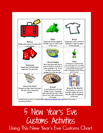 New Year S Customs Sheet And Activities New Years Eve Traditions New Year S Eve Activities New Years Activities