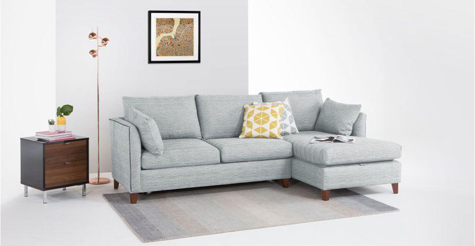Bari Corner Storage Sofabed With Memory Foam Mattress Right Hand Facing Malva Blue Grey Corner Sofa Bed With Storage Sofa Bed With Storage Grey Corner Sofa