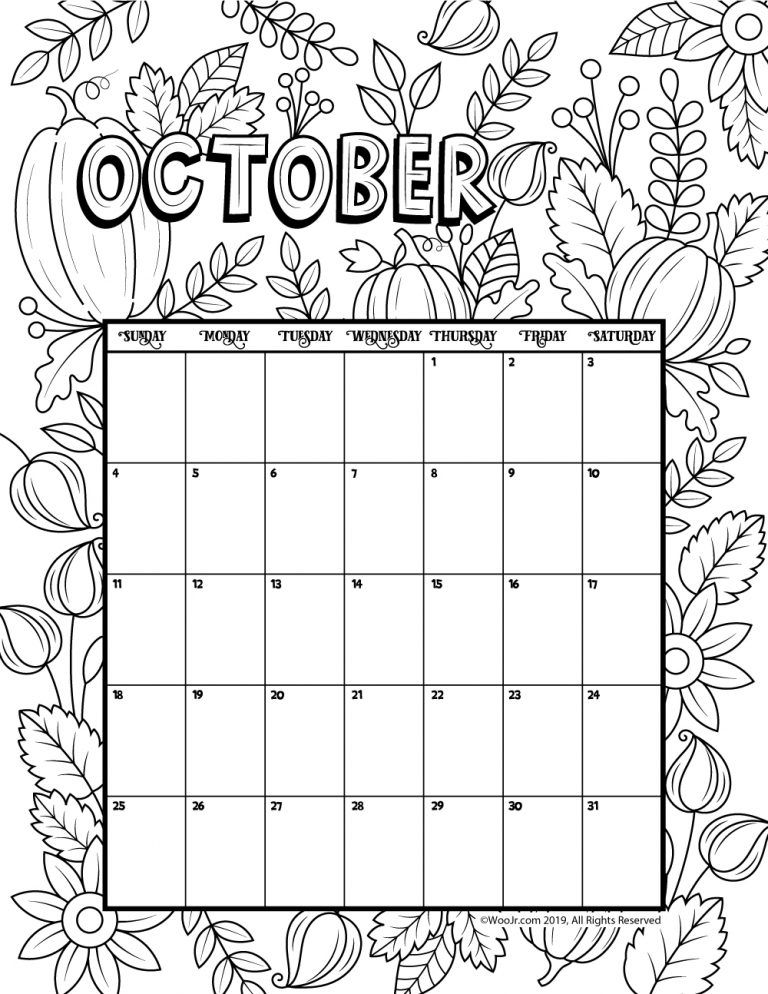 Printable Coloring Calendar for 2020 (and 2019