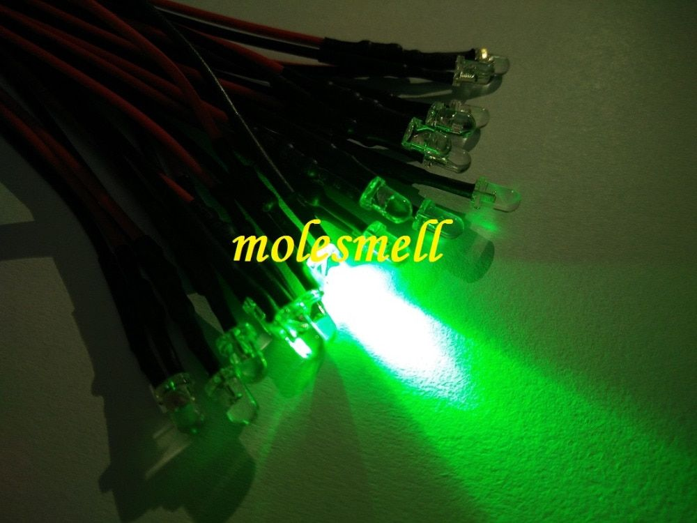 25pcs 3mm 5v Green Water Clear Round Led Lamp Light Set Pre Wired 3mm 5v Dc Wired Diy Sale Led Led Light Lamp
