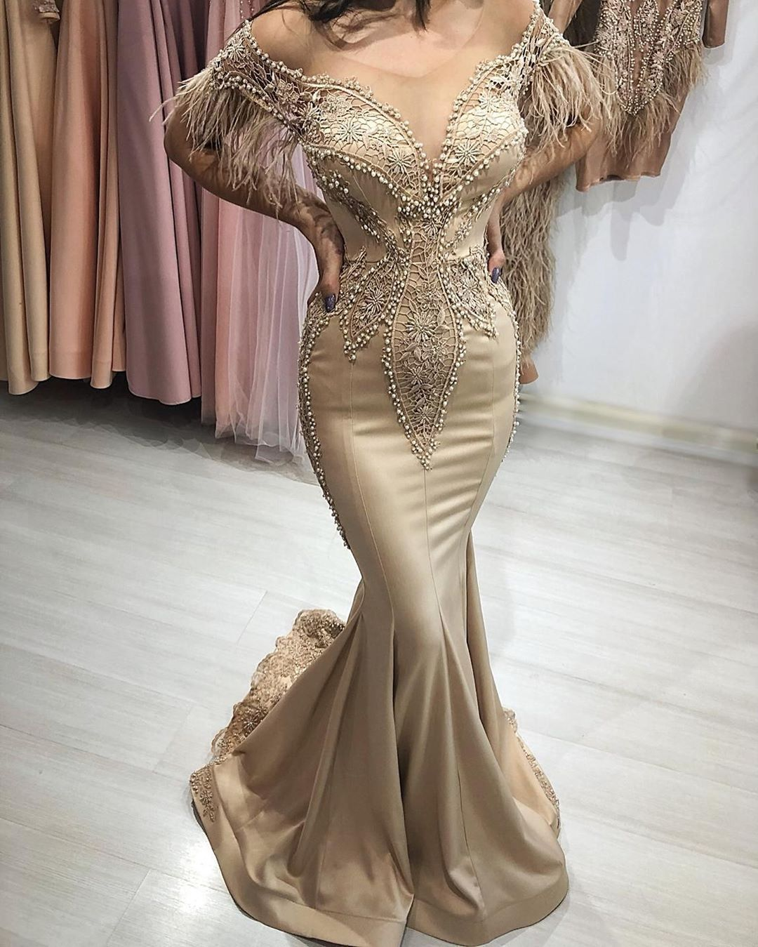 Abendkleid mit Federn  Couture evening dress, Formal ball gown