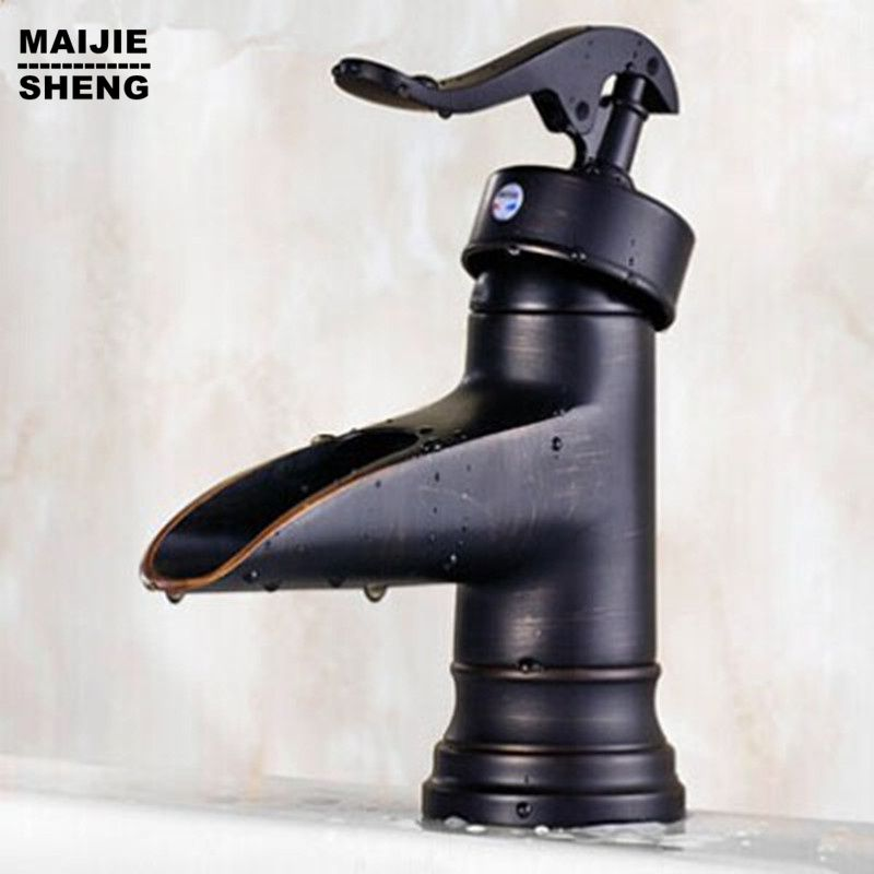 Bathroom antique black waterfall basin mixer sink faucet