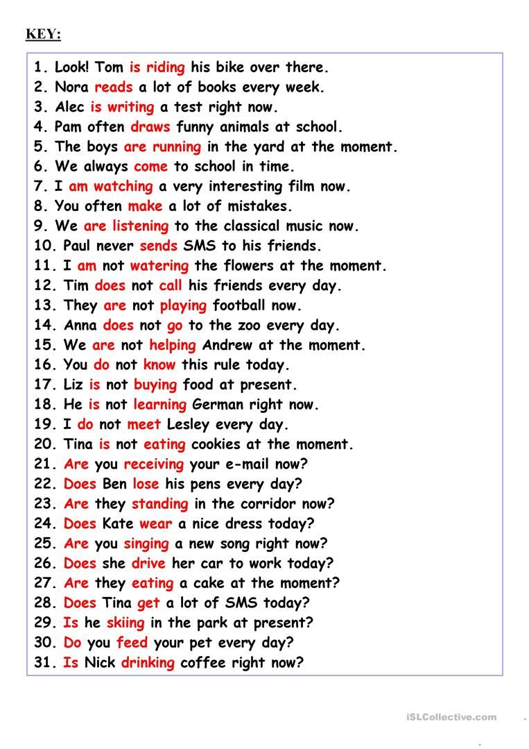 Revision Present Simple Or Present Continuous Worksheet Free Esl Printable Worksheets Ma English Worksheets For Kids Teaching English Grammar English Grammar