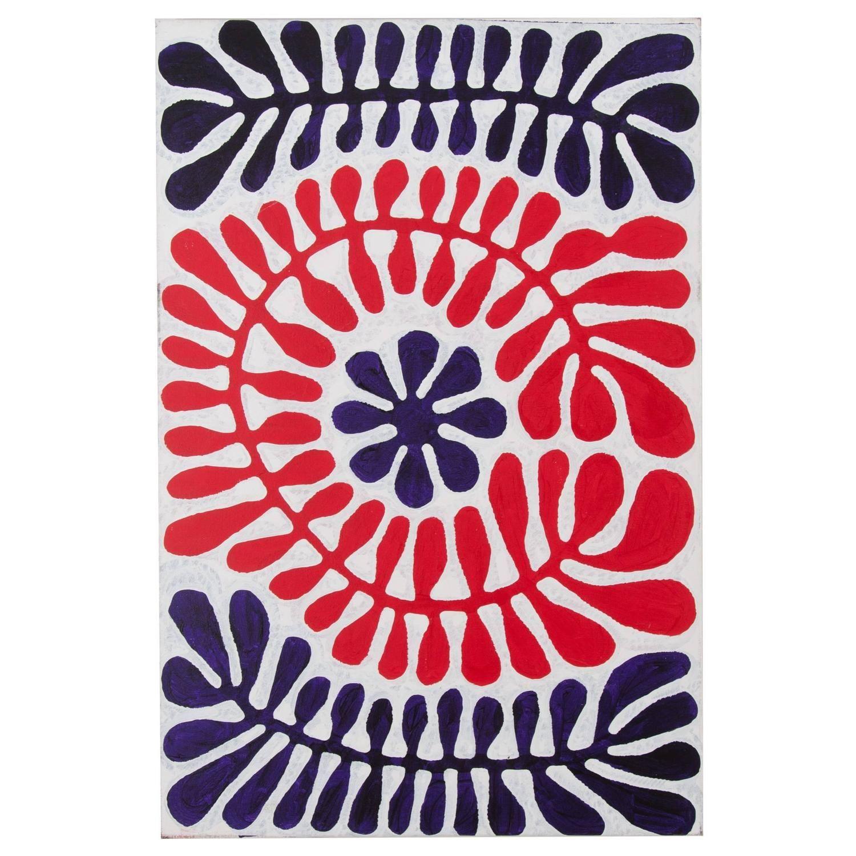Blue And Red Australian Aboriginal Painting Plant Pattern Design Aboriginal Painting Indigenous Australian Art Aboriginal Art