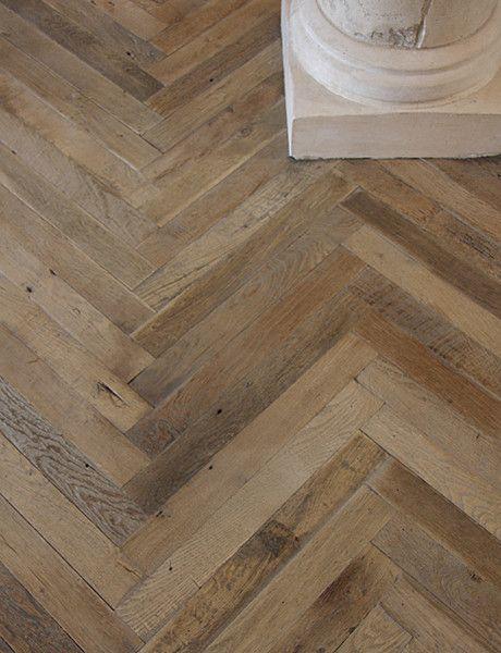 Antique french oak herringbone wood floor traditional for Wood floor under carpet