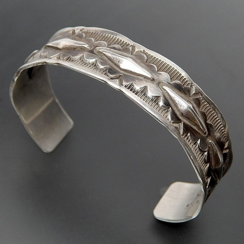 0d41578c06d Native American Nora Tahe Navajo Hand Stamped Ethnic Sterling Silver Cuff  Bracelet