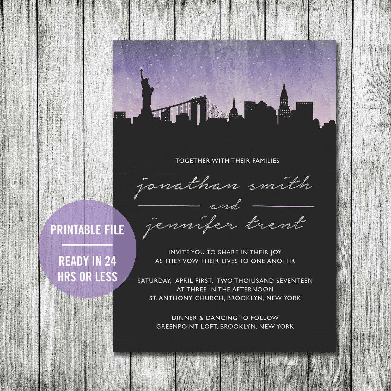 Manhattan Wedding Invitation Printable City Wedding Invitation Skyl Chalkboard Wedding Invitations Printable Wedding Invitations Printing Wedding Invitations