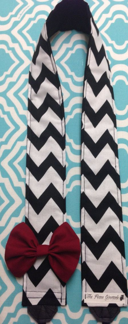 Black and white chevron striped camera strap with by PeaceGrenade