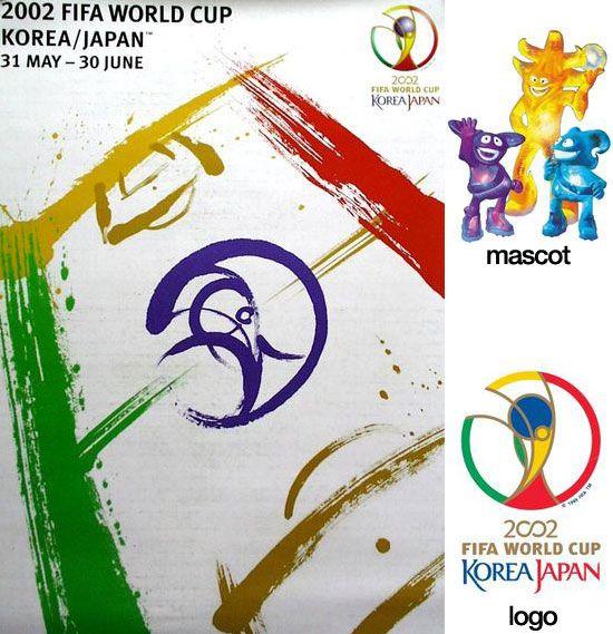 Cartel oficial de la Copa del Mundo Korea y Japón 2002 realizados por los artistas Byun Choo Suk, Coreano y Hirano Sogen, japonés. / Official poster of the FIFA World Cup Korea and Japan 2002 made by artists Byun Choo Suk (Korean) and Hirano Sogen (Japanese)