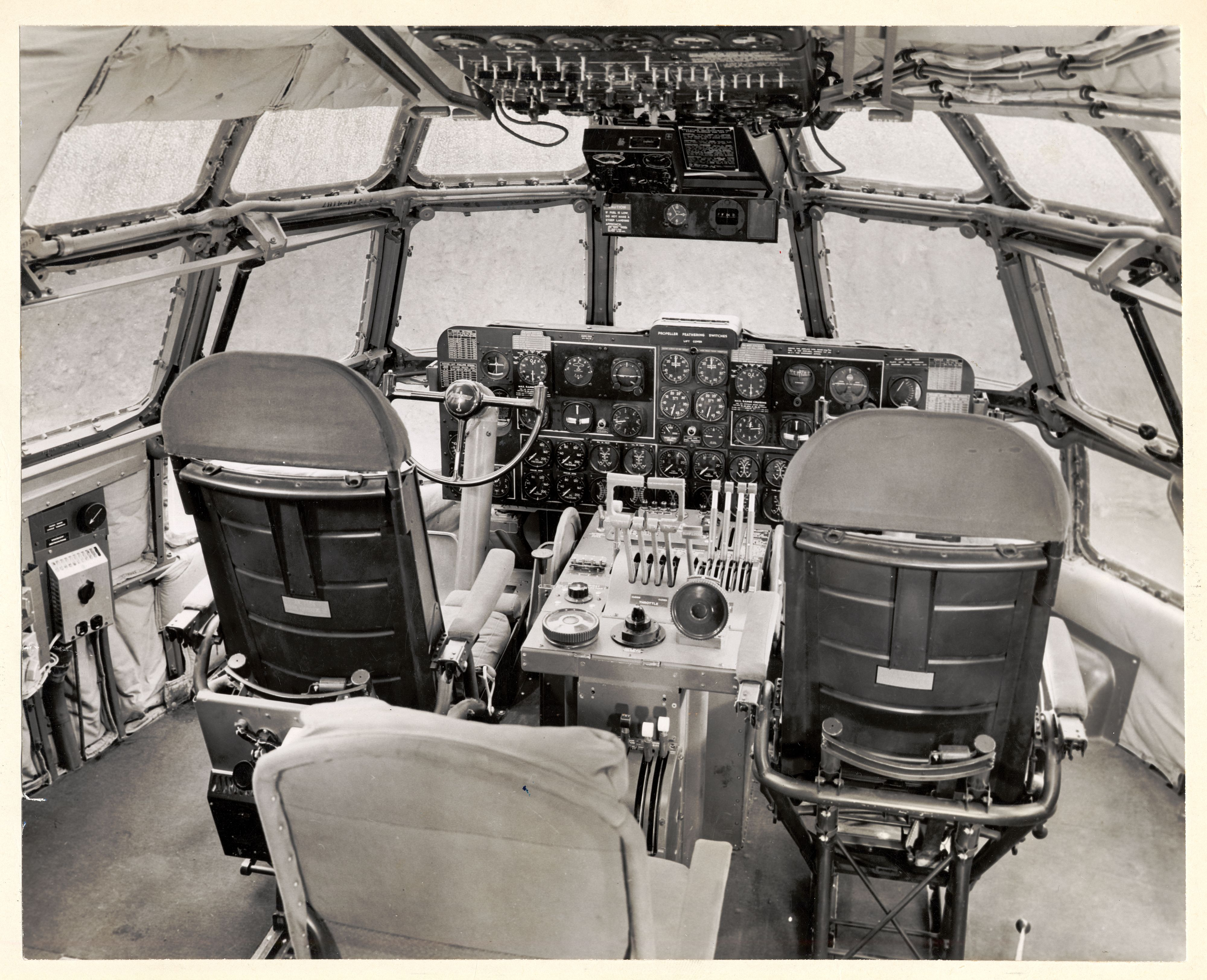 BOEING 377 STRATOCRUISER AIRLINER PILOTS IN COCKPIT AIRPLANE 8X10 PHOTO AVIATION