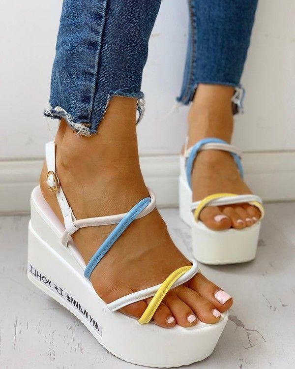 Colorful Strap Platform Wedge Sandals