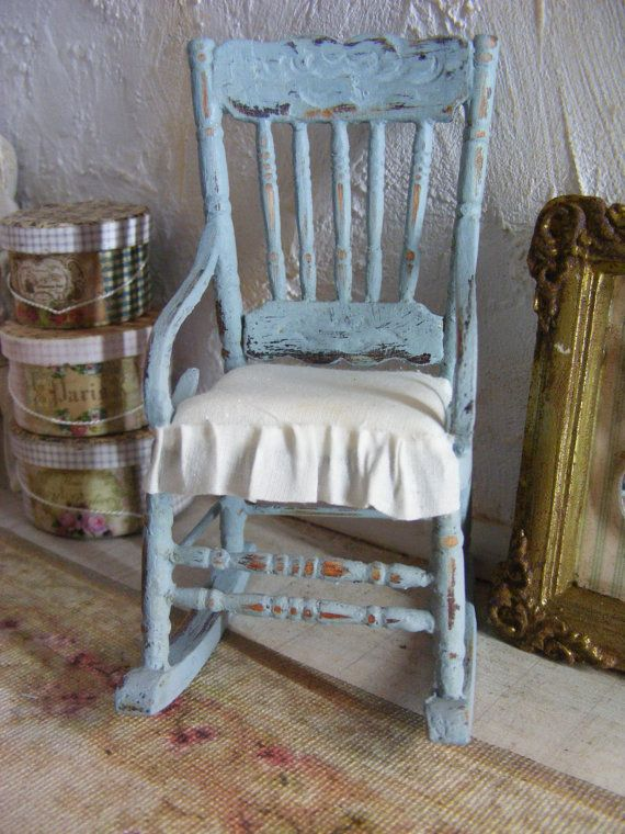 Miniature Shabby Chic Rocking Chair  ♡ ♡