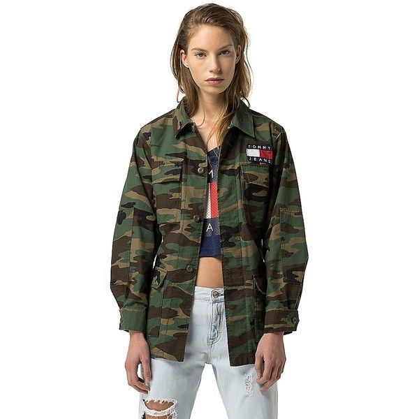 68749034abb46 Tommy Hilfiger Tommy Jeans Camo Jacket ($200) ❤ liked on Polyvore featuring  outerwear, jackets, camo jacket, embroidered jacket, camoflage jacket, tommy  ...