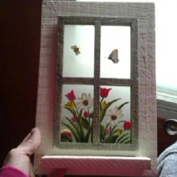 "Wooden ""window"" painted wall hanging Wood with clear window see through hangs on wall Very cute butterfly Other"
