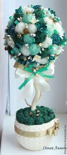 """Купить Топиарий """"Нефритовый цветок"""" - морская волна, полимерная глина, нефритовый, лазурь, бирюза, топиарий"""