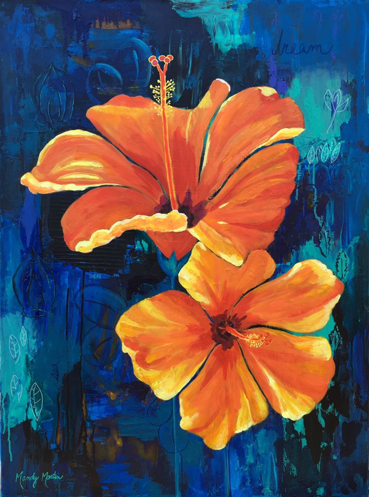 Two Tickets To Paradise Mandy Martin Art Flower Art Painting Floral Painting Canvas Art Painting