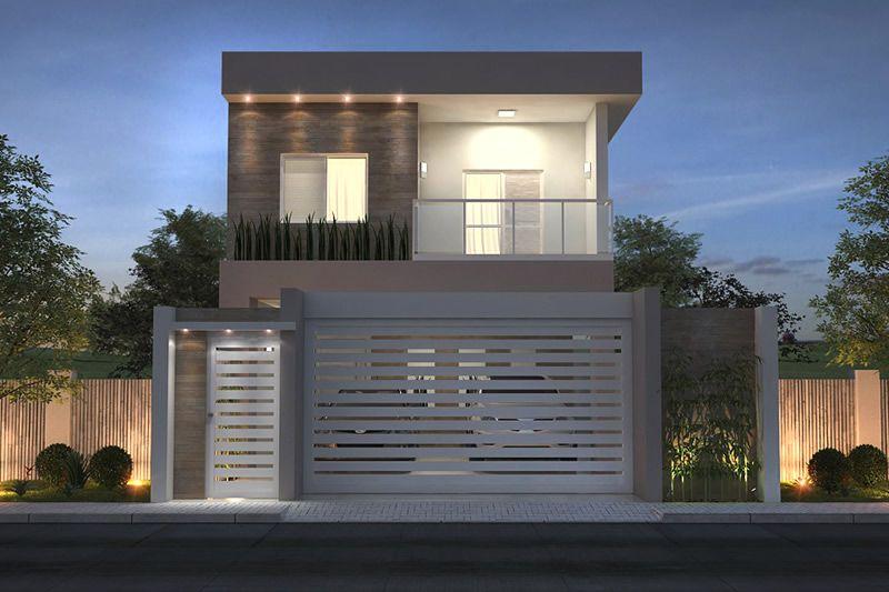 Planta de sobrado com 3 quartos casa pinterest for Fachadas de casas modernas de 2 quartos