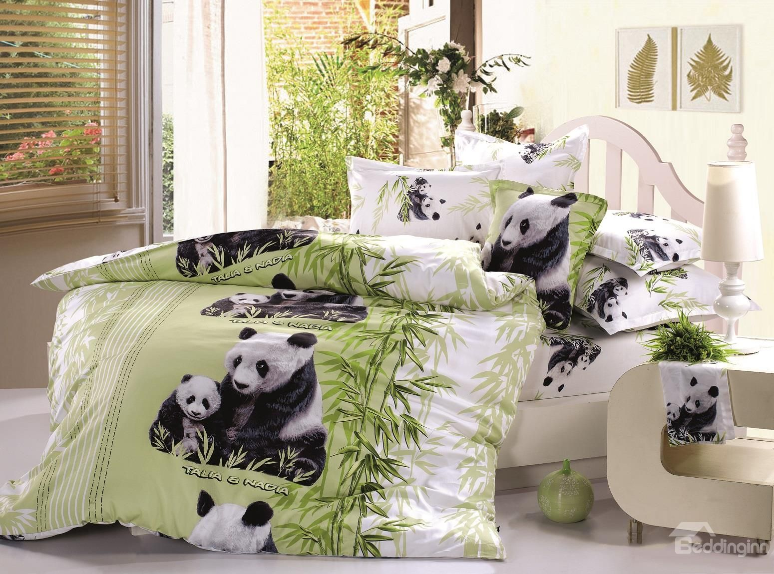 One Piece Bettwäsche 3d Mother And Baby Pandas Printed Cotton 4 Piece Bedding
